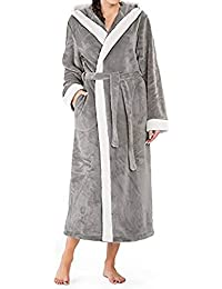 c2d80c6bfa KUDICO Womens Plus Size Dressing Gown Nightwear Soft Comfort Ladies Hooded  Pocket Long Housecoat Sleepsuit Loungewear