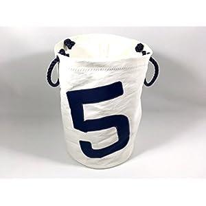 Segeltuch Wäschekorb mit Zahl 5 in dunkelblau