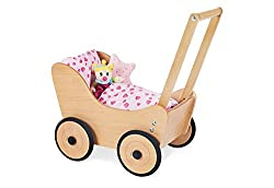 Pinolino doll cart Sarah, made of wood, with brake system, baby walker with rubberized wooden wheels, for children from 1 - 6 years, natural
