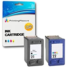 Printing Pleasure SET of 2 Remanufactured Printer Ink Cartridges for HP Deskjet F2110 F2120 F2128 F2140 F2180 F2185 F2187 F2188 F2200 F2210 F2212 F2214 F2224 F2250 F2275 F2280 F2290 F300 F310 F325 F335 F340 F350 F370 F375 F380 F390 F394 F4135 F4140 F4180 D1320 D1330 D1341 D1360 D1420 D1430 D1445 D1455 D1520 D1530 D1560 D1568 D2320 D2330 D2345 D2360 D2368 D2400 D2430 D2445 D2460 D1560 D2330 D2360 / Replacement for HP 21XL (C9351AE) & HP 22XL (C9352AE)