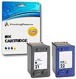 2 Cartouches d'encre compatibles pour HP Deskjet F2110 F2120 F2128 F2140 F2180 F2185 F2187 F2188 F2200 F2210 F2212 F2214 F2224 F2250 F2275 F2280 F2290 F300 F310 F325 F335 F340 F350 F370 F375 F380 F390 F394 F4135 F4140 F4180 D1320 D1330 D1341 D1360 D1420 D1430 D1445 D1455 D1520 D1530 D1560 D1568 D2320 D2330 D2345 D2360 D2368 D2400 D2430 D2445 D2460 D1560 D2330 D2360 / Remplacement pour HP 21XL (C9351AE) & HP 22XL (C9352AE)