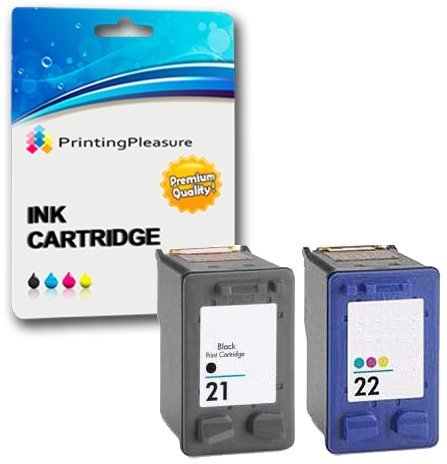 Printing Pleasure 2 Compatible Ink Cartridges for HP Deskjet 3940 F2120 F2180 F2280 F380 F4180 D1460 D2360 D2460 Officejet 4315 PSN 1410 | Replacement for HP 21XL (C9351AE) & HP 22XL (C9352AE)