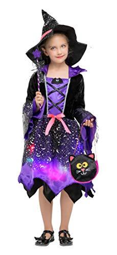 Hexe Kostüm Schalter - DEMU Hexenkostüm für Kinder Mädchen Beleuchtete Kinderkostüm mit LED für Halloween Karneval Violett L(120-130)