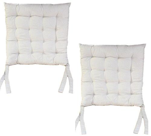 Antarris Sitzkissen 4er Set Polsterauflage Sitzauflage Stuhlkissen 40 x 40cm, grau, weiß Indoor Kissen extradick aus 100% Baumwolle