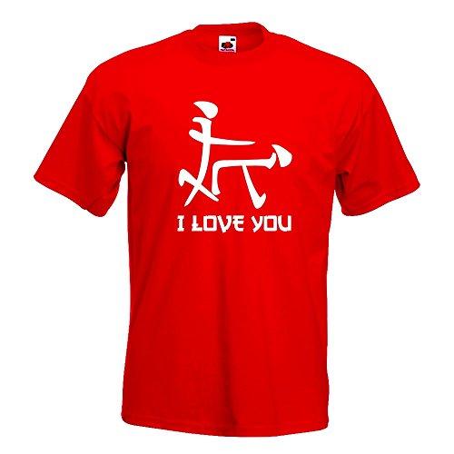 Kiwistar I Love YOU Schriftzeichen T-Shirt in 15 verschiedenen Farben Herren Funshirt bedruckt Design Sprüche Spruch Motive Oberteil Baumwolle Print Größe S M L XL XXL Rot