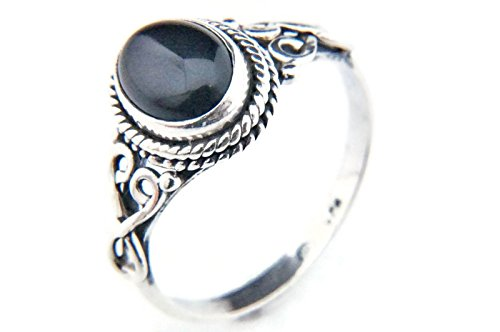 Ring Silber 925 Sterlingsilber Onyx schwarz Stein (MRI 42), Ringgröße:50 mm/Ø 15.9 mm