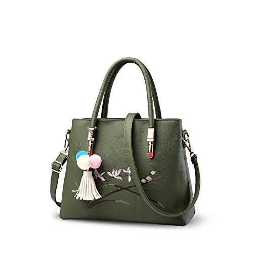 NICOLE&DORIS Neue Mode Süß Damen Handtaschen Umhängetasche Tasche Crossbody Groß Tasche PU Grün (Neue Damen Mode Tasche)