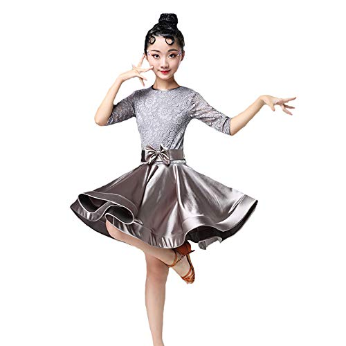 HUO FEI NIAO Tanzkostüm - Latin Dance Kostüm Girl Lace Spiel Kostüm Tanzkostüm Herbst (Farbe : Gray, größe : ()