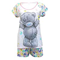 TDP PJ Disney, Marvel, Tatty Teddy Ladies 100% Cotton 2 Piece Short Pyjamas Set, Tatty Teddy Multi Floral, Small