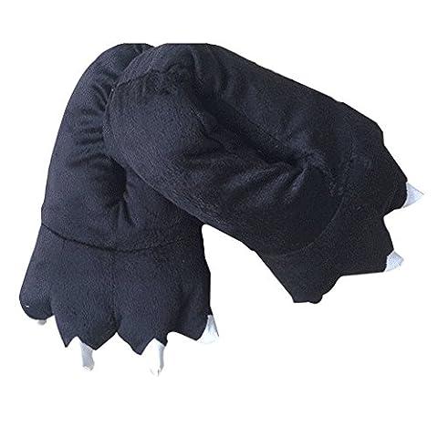 chaussons femme hiver animaux fantaisie peluche noir Griffe pantoufles patte