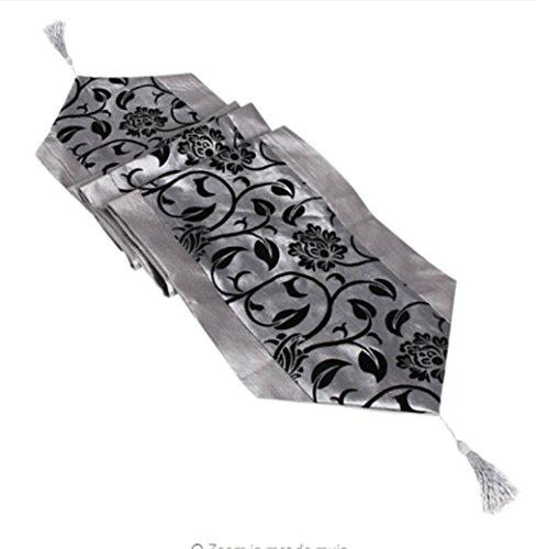 äischen Stil Blume Tischtuch Party Hochzeit Dekoration Raised Flowered Damask Tischläufer Tuch Abdeckung (Silber-Grau) ()