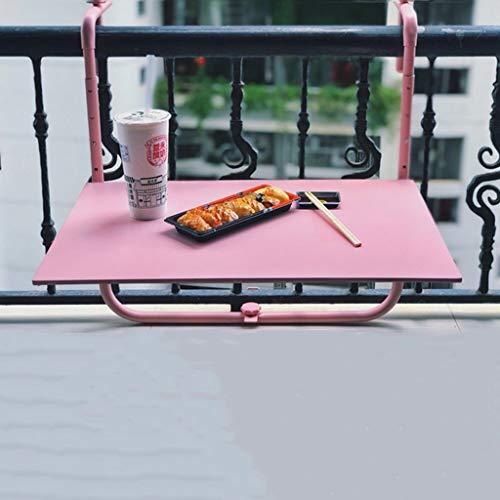 Ailj Outdoor Klappwerkbank, Terrassengarten Verstellbarer Hängetisch Balkon Schmiedeeisen Bar Geeignet Für Terrassen, Gärten, Terrassen 60 * 43 cm 3 Farben (Farbe : Rosa) -
