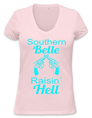 Southern Belle Raisin' Hell Slogan Womens V-neck T-shirt XX-Large -