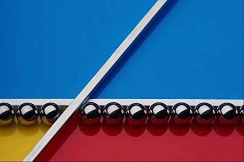 662058 Steel Balls And Rods On Multicolored Acrylic A4 Photo Poster Print 10x8