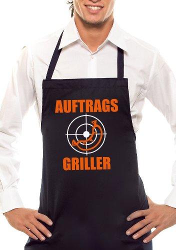 Auftrags-Griller - Zweifarbig - Grillschürze Schwarz / Orange-Weiss
