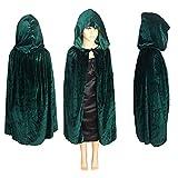 LJIE Halloween Umhang, Kapuzenumhang, Umhang Vampir Kostüm Für Halloween, Kinder,Green,L