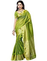 MIMOSA Women's Kanchipuram Tussar Silk Saree With Blouse Piece (2085-OLV_Olive)