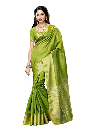 Mimosa Women'STassar Silk Saree Color: Olive(3219-2085-OLV)  available at amazon for Rs.449
