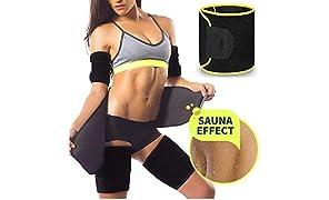 ANEMOI Advance Improved Sweat Waist Belt | Belly Tummy Yoga Wrap Black Exercise Body Slim Look Slimming Belt