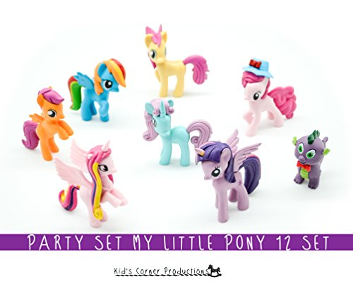 Kids Corner Productions - My Little Pony Party Bag Conjunto de 12 mini figuras, figuras lindas de Pinky Pie, Rainbow Dash, Rarity con Spike y muchas más figuras mágicas