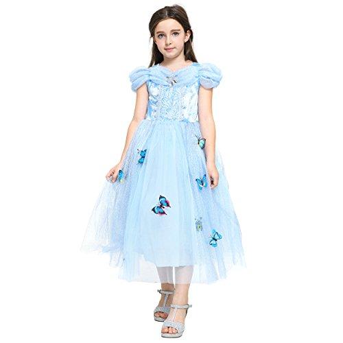 Imagen de katara  cenicienta disfraz de princesa vestido con broches de mariposas y falda de tul para niñas, 8 9 años alternativa