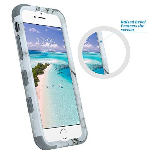 iPhone 6s Hülle, ULAK iPhone 6 hülle Silikon Shockproof Fall Luxus 3in1 Hybrid Schlag Anti-Rutsch harte Schutzhülle für iPhone 6/ 6s 4,7 Zoll (Roségold Stripes) Marmor