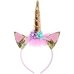JMITHA Unicornio Cuerno Diadema con Flores Artificiales Accesorio de Pelo de Fiesta Diadema unicornio para Niñas Aro del pelo (Oro)