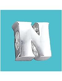 Plata Bead letra N genuino sólido puro 925con sello plata de ley Bead Charm letra inicial alfabeto para Europea Pulsera y cadenas–3d cinta para el/off–Filoro