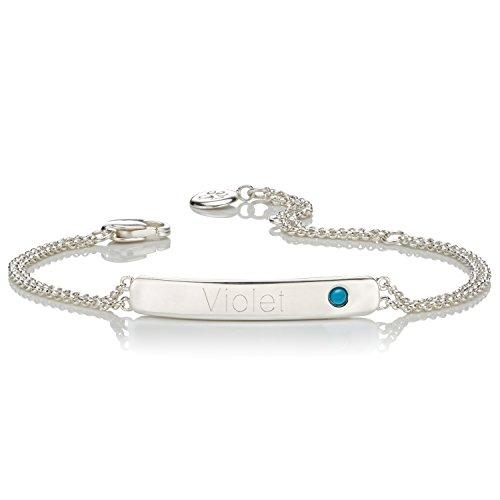 personalisierbar Dezember Geburtsstein Türkis Identität Armband | Molly braun London (Personalisierte Signatur-schmuck)