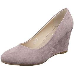 Damen Schuhe, 57257, PUMPS, KEIL WEDGES, Synthetik in hochwertiger Wildlederoptik , Grau Braun, Gr 39