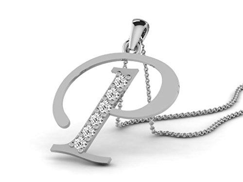 Or Blanc 9 ct Pendentifs Diamant en forme de P alphabet, 0.13 Ct Diamant, GH-SI, 0.59 grammes.