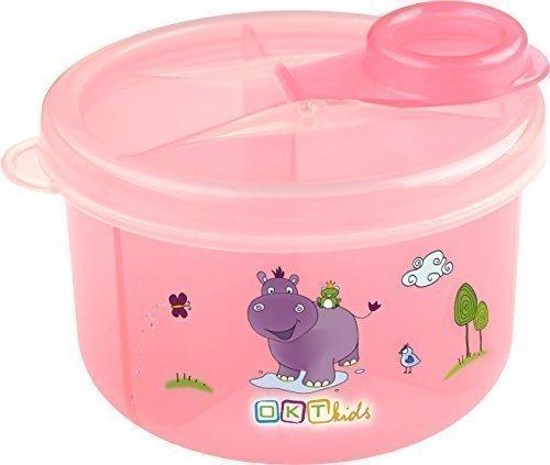 Milchpulver - Portionierer mit 3 Fächern Milchpulverspender Milchpulverbox Hippo rosa