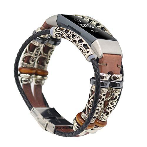 samLIKE Armband für Fitbit Charge 3 Herren und Damen Retro Leder Ersatzarmband Weich Aushöhlen Sportarmband Kompatibel mit Fitbit Charge 3, 230MM, 7 Farben (Roségold)
