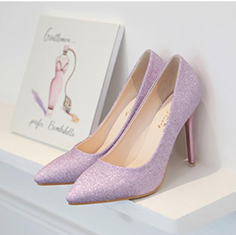 Wild tacones con punta fina plata , y boda wedding shoes zapatos de mujer ,35, violeta de 10 centímetros.
