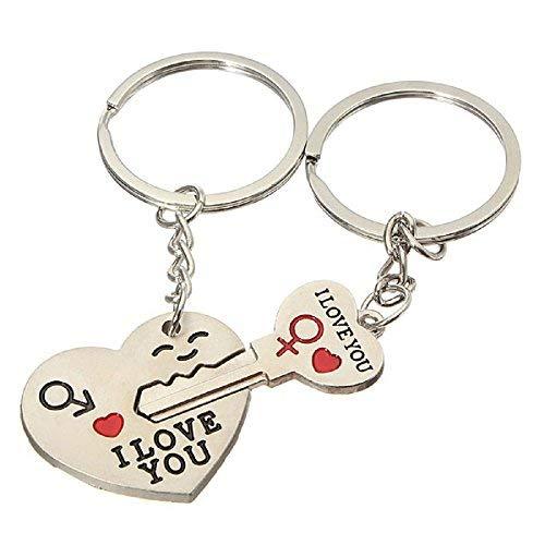 2 x Schlüsselanhänger mit Anhänger - Herz und Schlüssel, die zusammen passen - geschrieben - ich Liebe Dich - I Love You (Anhänger Herz Schlüssel)