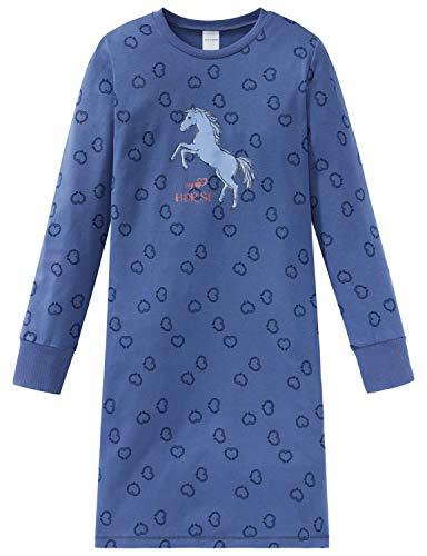 Schiesser Mädchen Pferdewelt 1/1 Nachthemd, Blau (Jeansblau 816), (Herstellergröße: 116)