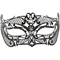 """La Fucina dei Miracoli, Maschera in metallo nero con strass Swarovski® originali, """"Lui"""""""