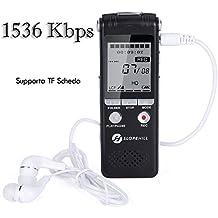 Registratore Vocale Digitale, Slopehill 1536kbps PCM 8GB Supporta TF Scheda Lettore con LCD Display Regolazione della Velocità di Riproduzione Costruito con MP3 in Lega di Zinco -Nero
