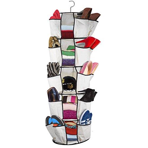 Oramics faltbarer Kleiderschrank mit Haken für Camping, Hängeschrank in Weiß für Schuhe, Kleidung, Accessoires, Faltschrank zum Aufhängen mit 30 Taschen und 5 Fächern