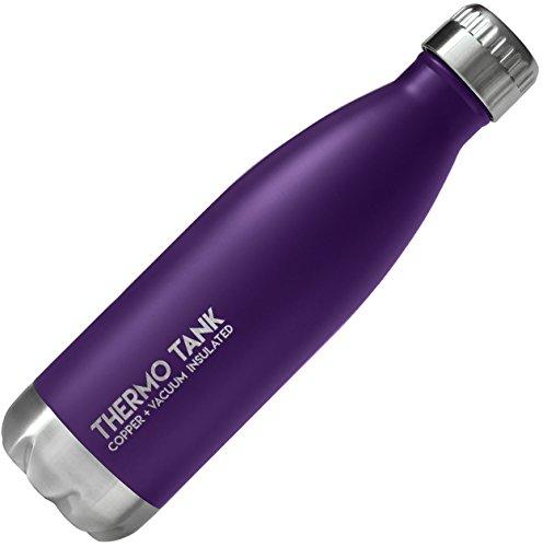 e Edelstahl-Flasche-Ice Cold 36Stunden. Vakuum + Kupfer Technologie-17Unze, violett ()
