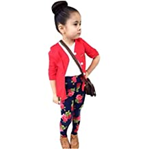 Malloom 1 set Chicas niñas manga larga camiseta tops + abrigo + pantalones ropa trajes