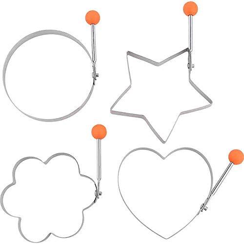 Loykind Ei-Form-Pfannkuchen, Pfannkuchen Shaper Non-Stick-Form Mit Griff Für Grillpfanne Küche Werkzeug-Edelstahl-Hersteller-Form Runde Ei Ringe, 10 cm (Satz 4)