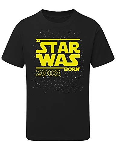 Geburtstags Shirt: Star was Born 11 Jahre - Junge - T-Shirt für Jungen - Geschenk-Idee zm 11. Geburtstag - Jungen - Jahrgang 2008 - Elf-TER - Lustig - Witzig - Kind - Kinder - Schwarz - Gelb (164)