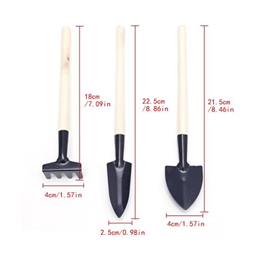 Wanfor 3 Stücke Mini Garten Gartenanlage Werkzeuge Set mit Holzgriff Schaufel Rake Spaten - Mini Grubber