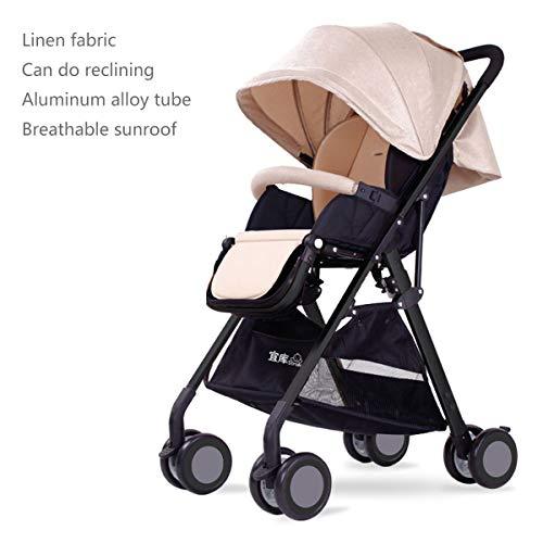 YLET Kinderwagen Ultra Light Portable kann sitzen Reclining Shock Absorber Folding High Landscape Kinderwagen, Black Tube beige-OneSize