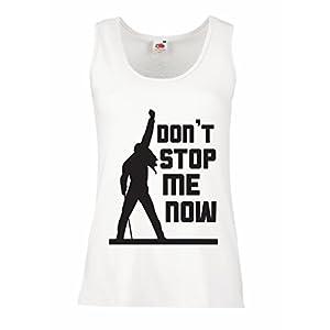 553367874 lepni.me Camisetas sin Mangas para Mujer Don't Stop me Now! Camisas de  Abanico, Regalos de músicos, Ropa de Rock (Medium Blanco