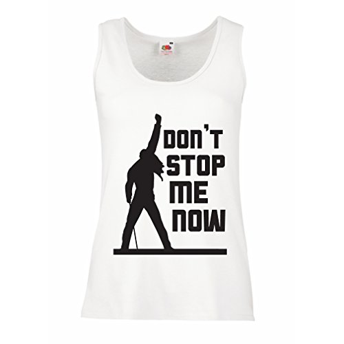 lepni.me Damen Tank-Top Don't Stop me! Fan shirts, musiker geschenke, rock kleidung (Large Weiß Mehrfarben)