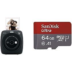 Fujifilm Instax Square SQ20 Noir Appareil photo instantané & Carte Mémoire microSDXC SanDisk Ultra 64GB + Adaptateur SD.
