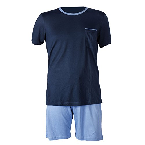 Herren Schlafanzug kurz Herren Pyjama kurz Herren Shorty Schlafanzug aus 50% Baumwolle 50% Modal (L 52/54, Navy Blau)