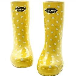 Rain Boots Botas de lluvia para adultos Botas antideslizantes a prueba de agua Señoras usan zapatos de agua de goma Patrón de onda Botas de lluvia A+ (Color : Amarillo, Tamaño : 38)